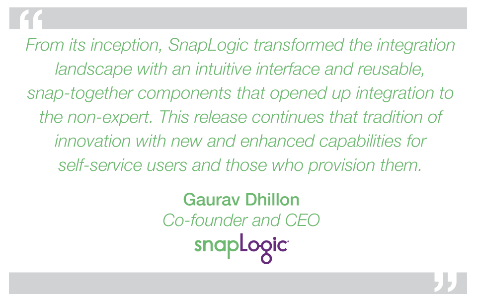 The Summer 2015 release of the SnapLogic platform improves support for self-service integration for the agile enterprise with: