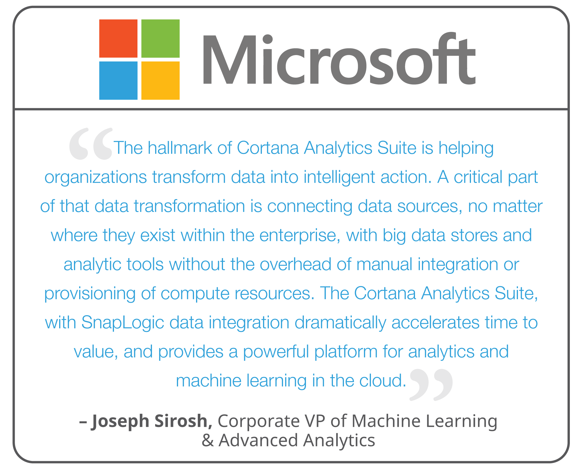 snaplogic collaborates with microsoft to support cortana analytics
